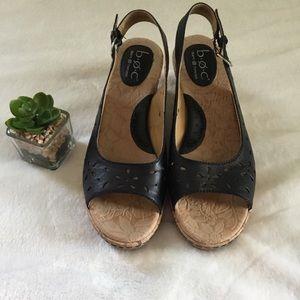 BORN Sling Back Cork Wedges Sandals Size 8W